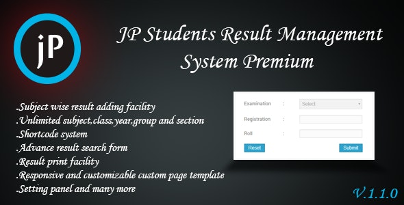 JP Students Result Management System Premium - CodeCanyon Item for Sale