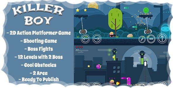 Killer Boy - 2D Action Platformer Mobile/Android Game (Unity Game + Admob)