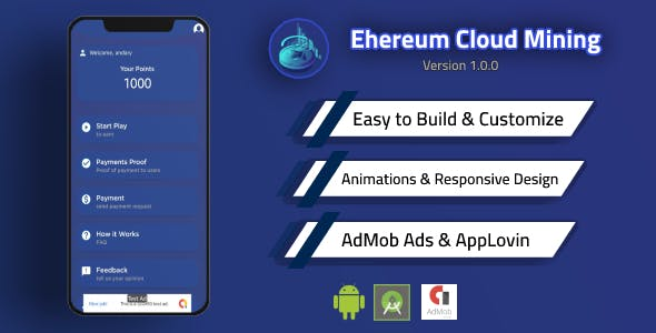 Ethereum Cloud Mining App with Admin Panel and Admob