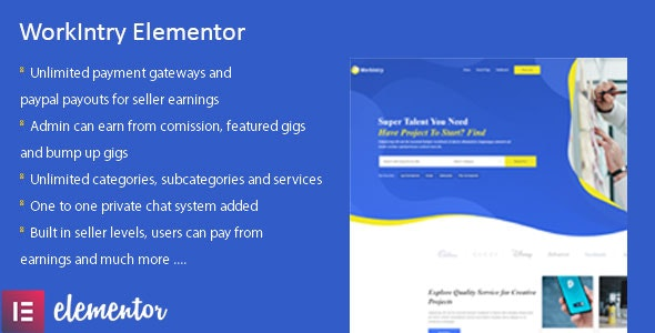 Workintry - Freelance and Job Board Elementor Extension WordPress Plugin - CodeCanyon Item for Sale