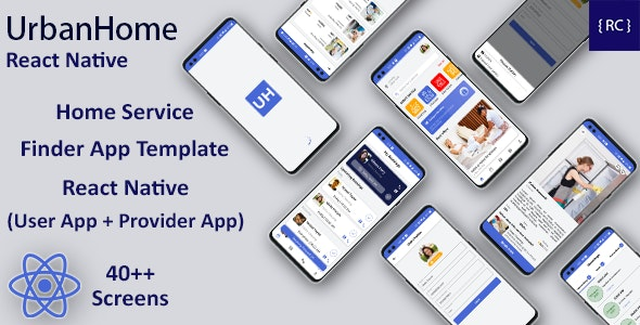 Home Service Finder & Provider Booking Template in React Native | 2 Apps | UrbanHome | Android & iOS - CodeCanyon Item for Sale