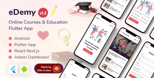 LMS Education & Online Courses Flutter App + React Next Dashboard - eDemy