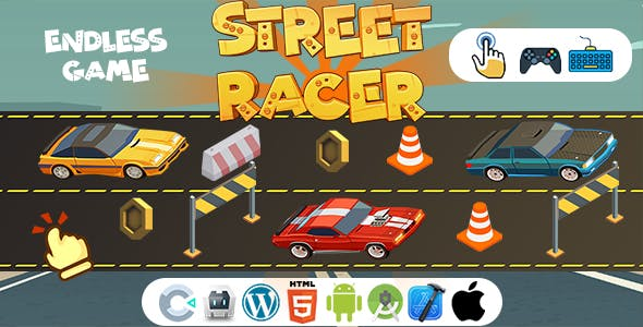 Street Racer Game (Construct 3 | C3P | HTML5 | Cordova | XCode | Android Studio) Endless Car Game