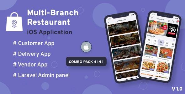 Multi-Branch Restaurant - iOS User + Delivery Boy + Vendor Apps With Laravel Admin Panel