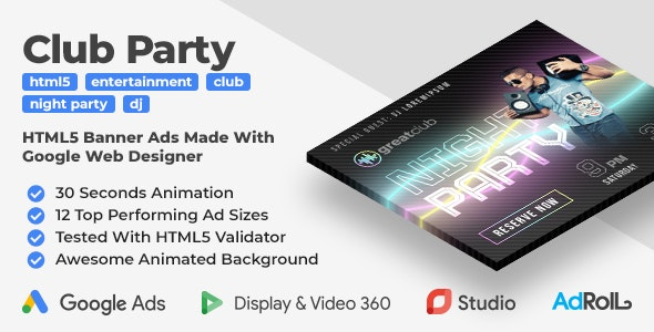 Greatclub - Club Party Animated HTML5 Banners (GWD) - CodeCanyon Item for Sale