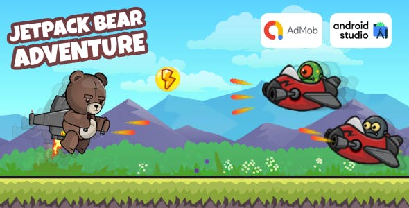 Jetpack Bear Adventure - Shooter Game Android Studio Project with AdMob Ads + Ready to Publish