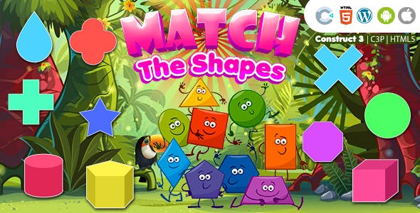 Match the Shapes (Construct 3 | C3P | HTML5) Kids Educational Game