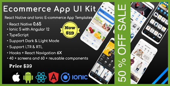 Apps Shop UI Kit - React Native & Ionic Templates (Grocery,E-commerce,Fashion store, Furniture,Food)