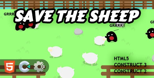 Save The Sheep HTML5 Construct 2/3