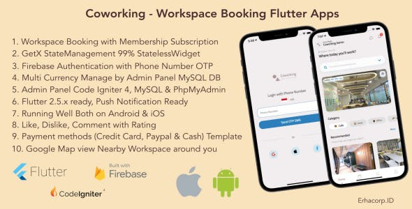 Coworking - Workspace Booking Flutter App with Admin Panel