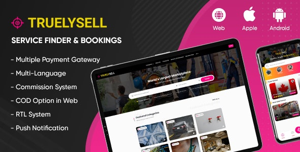 TruelySell v2.0.8 – On-demand Service Marketplace, Nearby Service Finder and Bookings (Web + Android + iOS)