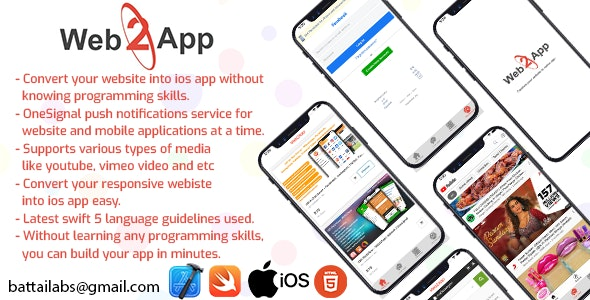 Web2App - Trasform your website into native ios app - CodeCanyon Item for Sale