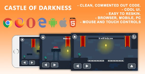 Castle Of Darkness. Mobile, Html5 Game .c3p (Construct 3)