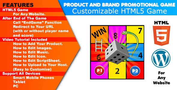 Product and Brand Promotional Game 01 | Snake and Ladder Board Game | Redirect to Your URL