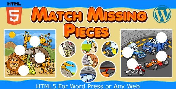 Match Missing Pieces Game (HTML5) Kids Learning Game