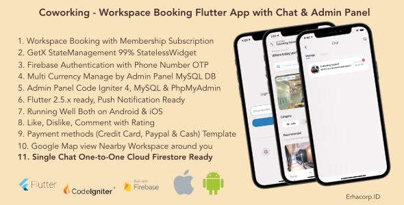 Coworking - Workspace Booking Flutter App with Chat & Admin Panel