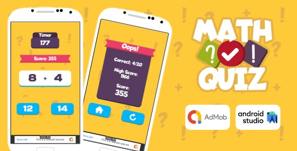 Math Quiz Game Android Studio Project with AdMob Ads + Ready to Publish