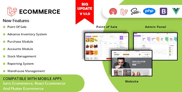 Laravel Ecommerce - Universal Ecommerce/Store Full Website with POS and Advanced CMS/Admin Panel - CodeCanyon Item for Sale