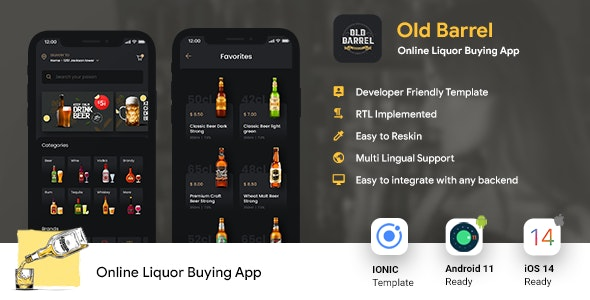 Online Liquor Buying Android App + iOS App Template   IONIC 5   OLD BARREL - CodeCanyon Item for Sale