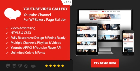 Youtube Video Gallery - Youtube Channel For WPBakery Page Builder - CodeCanyon Item for Sale