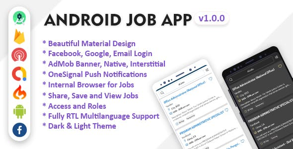 Android Job App with Facebook and Google login
