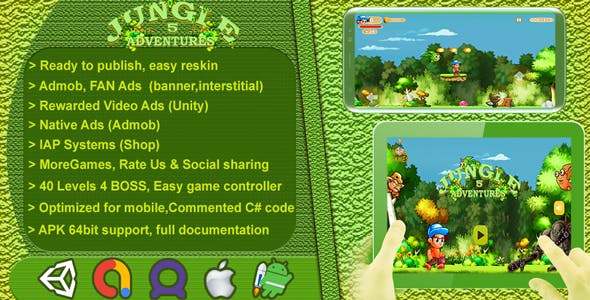 Jungle Adventures 5 2D - Complete Game Template / Project - Unity Game