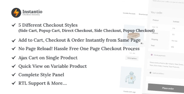 WooCommerce Quick Checkout by Instantio | Side Cart, Popup Cart and Direct Checkout - CodeCanyon Item for Sale