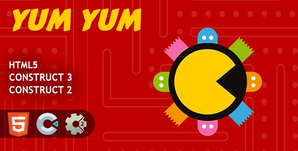 Pacman Yum Yum HTML5 Construct 2/3 Game - CodeCanyon Item for Sale