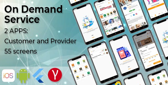 On Demand Service Template - 2 Apps Customer and Provider - Flutter iOS and Android Templates