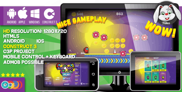 Among Run - HTML5 game, Construct 3 (.c3p) + mobile, sharings, shop, AdMob possible