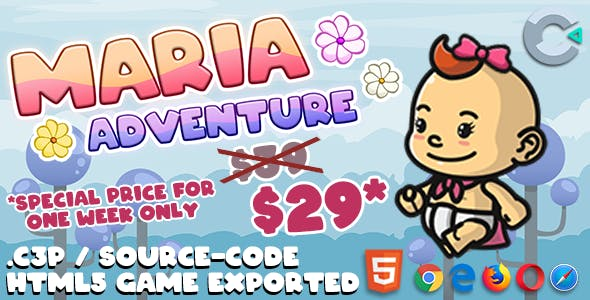 Maria Adventure HTML5 Game - With Construct 3 File (.c3p)