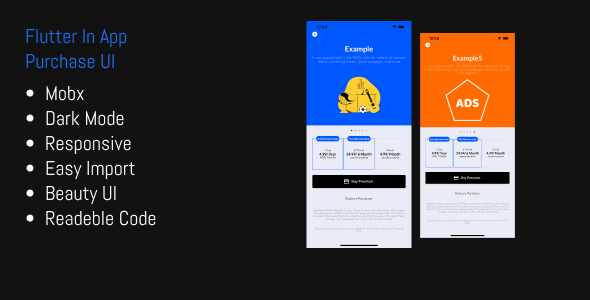 Flutter In App Purchase Responsive UI Template