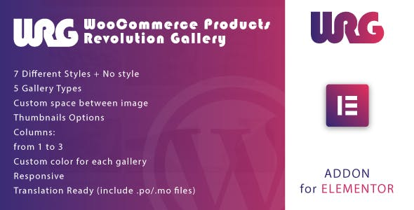 Woocommerce Products Revolution Gallery for Elementor WordPress Plugin