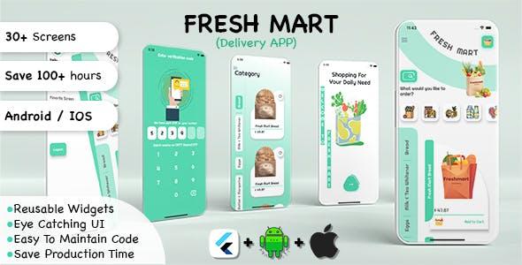 Fresh Mart Delivery App for E-commerce, Grocery Shopping App UI Kit in Flutter