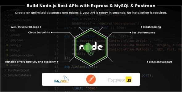 Build Node.js Rest APIs with Express & MySQL & Postman - CodeCanyon Item for Sale