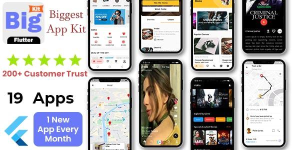 BigKit - Biggest Flutter App Template Kit - 19 Apps (Add 1 App Every Month)