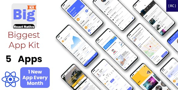 BigKit - Biggest React Native App Template Kit - 5 Apps (Add 1 App Every Month)
