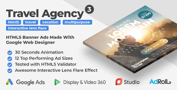 Travel Agency 3 - Animated HTML5 Banners With Interactive Lens Flare Effect (GWD)