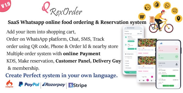 QrexOrder - SaaS WhatsApp Online ordering / Restaurant management / Reservation system - CodeCanyon Item for Sale