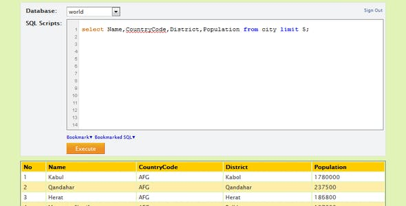 Enhanced SQL Web Console for MySQL