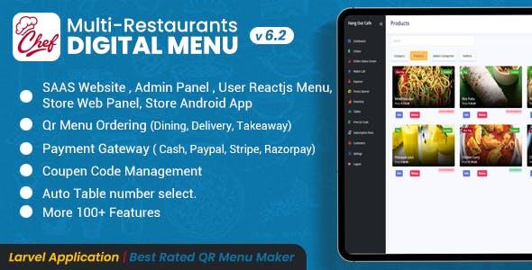 CHEF - SaaS - Contactless Multi-restaurant QR Menu Maker