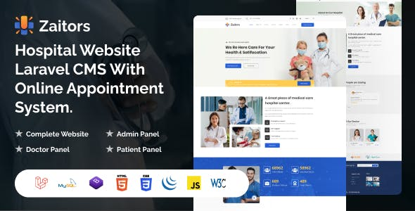 Zaitors - Hospital Website Laravel CMS With Online Appointment System