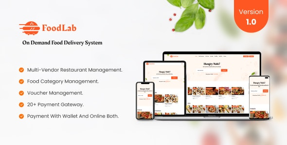 FoodLab - On demand Food Delivery System - CodeCanyon Item for Sale