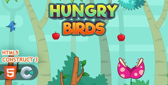 Flappy Hungry Birds HTML5 Construct 3 Game