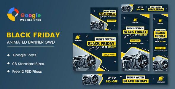Men Watch Black Friday Sale HTML5 Banner Ads GWD