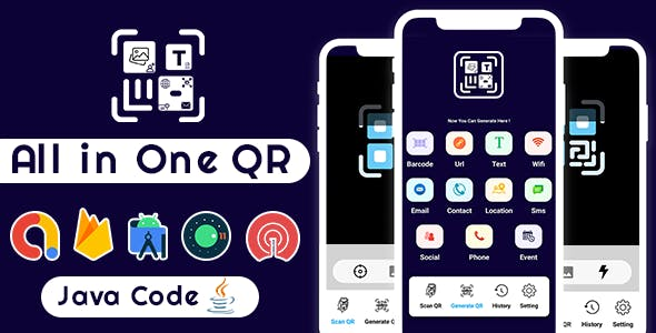 All in One QR Barcode Scanner & Generator +Admob+OneSignal Push Notification Android App
