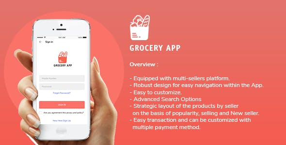 Grocery Application Template for User in Android