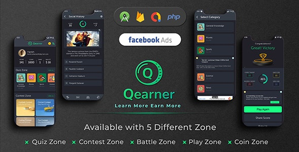 Qearner - Quiz App with Earning System + Admin Panel - CodeCanyon Item for Sale