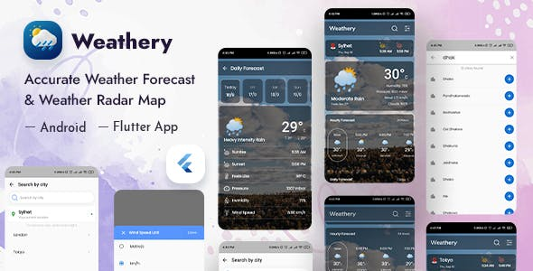 Weathery - Weather Forecast & Radar Map Flutter App