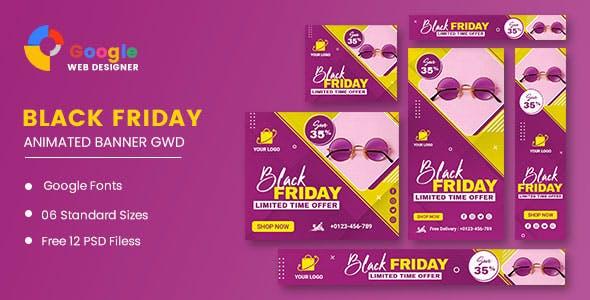 Black Friday Sale Fashion Eyewear HTML5 Banner Ads GWD